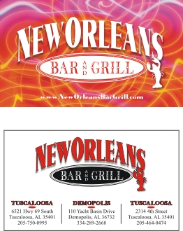Aw designs marketing solutions new orleans bar grill logo business card reheart Image collections